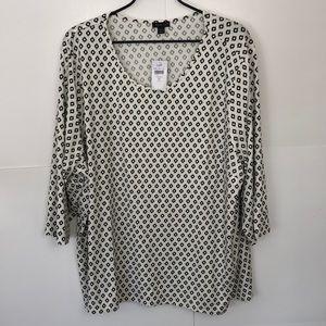 J Jill Wearever Collection Tunic Blouse sz 4X New